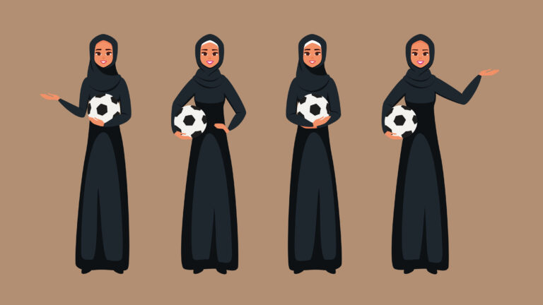 Arab Young women standing with soccer ball in different poses